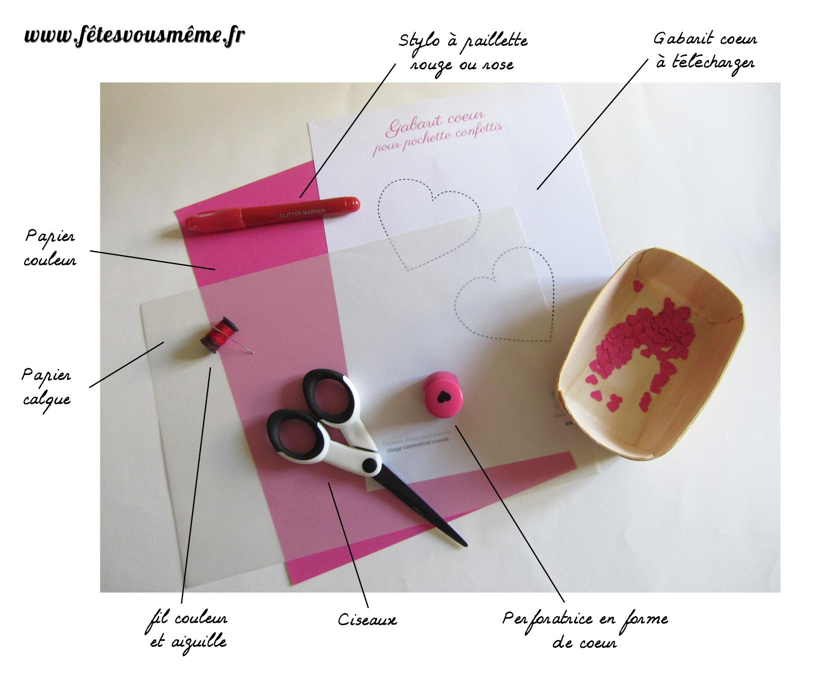 fournitures pochette cœur à confettis - Fêtes vous même