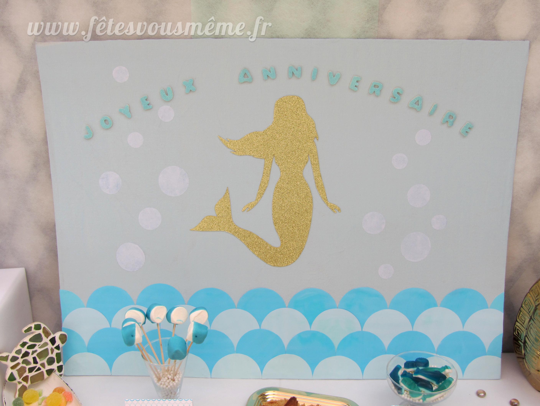 Affiche table gourmande sirène - décoration monde de la mer - Fêtes vous même