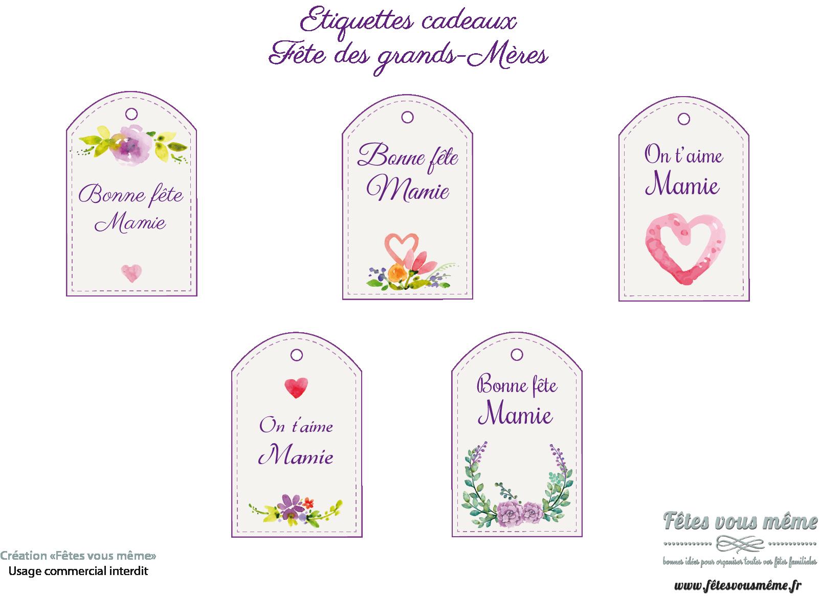 Étiquettes cadeaux bonne fête mamie - thème floral • fêtes vous même