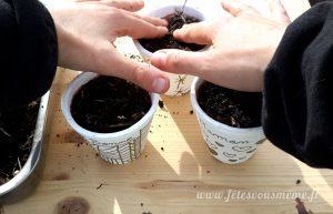 Aromates pour la Fête des Mères - tassage des semis - Fêtes vous même