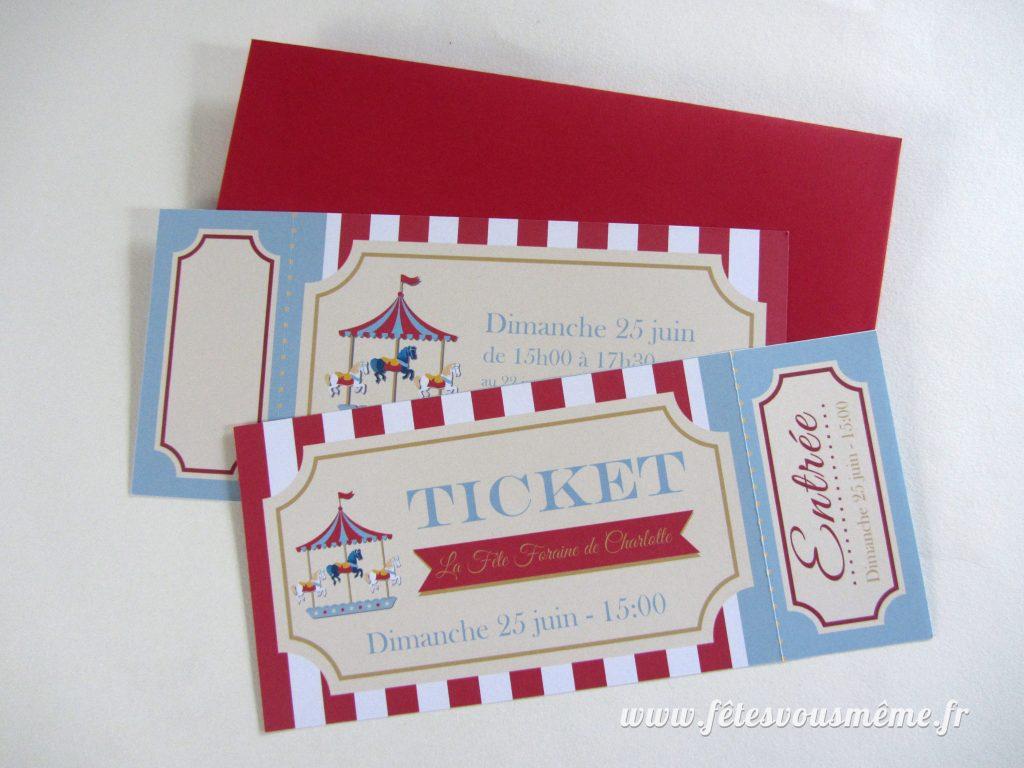 Ticket Invitation Fête Foraine - Fêtes vous même
