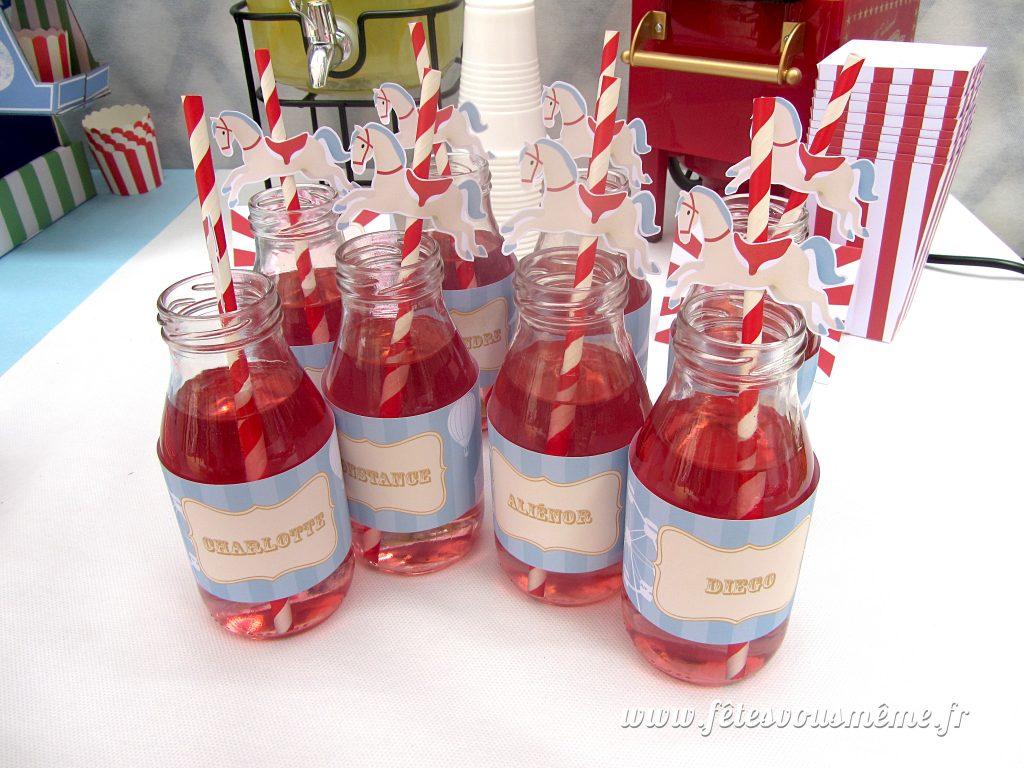 Table Gourmande Fête Foraine - bouteilles de grnadine - Fêtes vous même