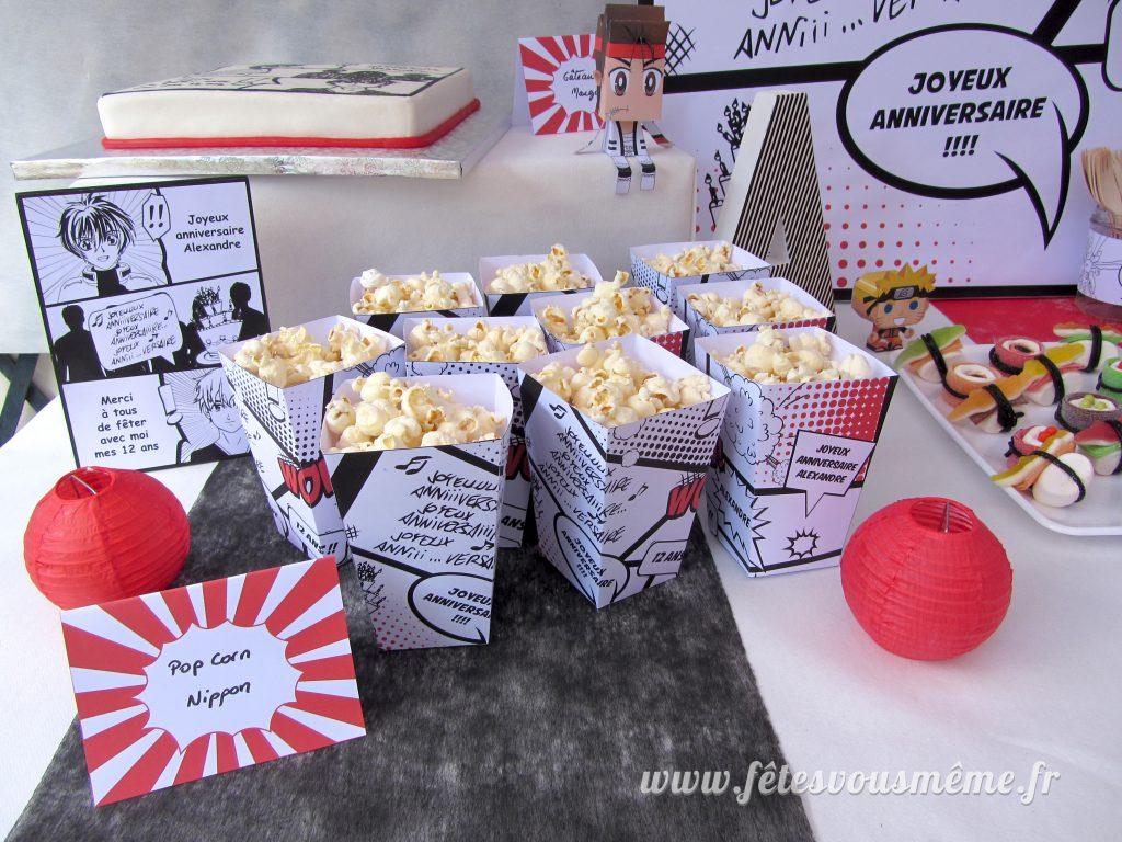 Kit déco Manga - pop corns - Fêtes vous même