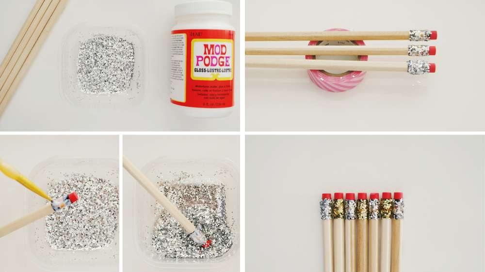 DIY de rentrée - étapes crayons pailettes - Fêtes vous même