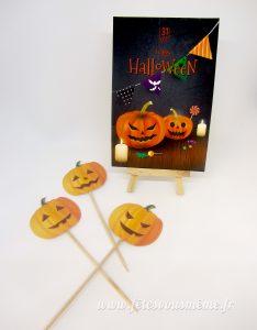 Carte Halloween et piques citrouilles - Pack Festif Halloween - Fêtes vous même