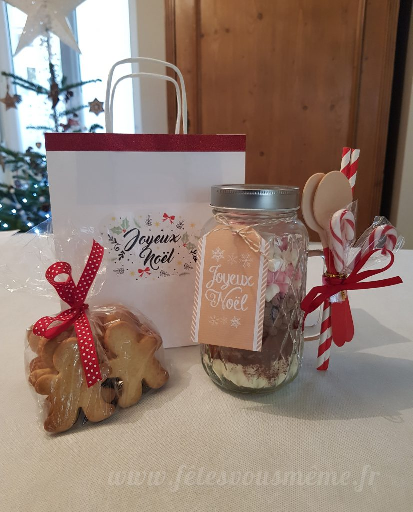 cadeaux gourmand chocolat chaud et sablés pain d'épices