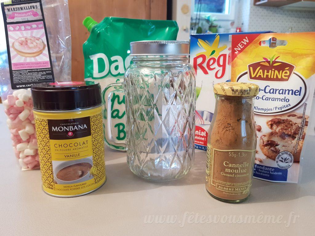 Ingrédients pour chocolat chaud